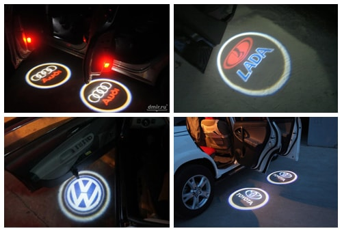 Лазерная подсветка дверей с логотипом