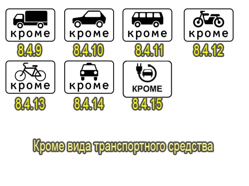 Кроме вида транспортного средства